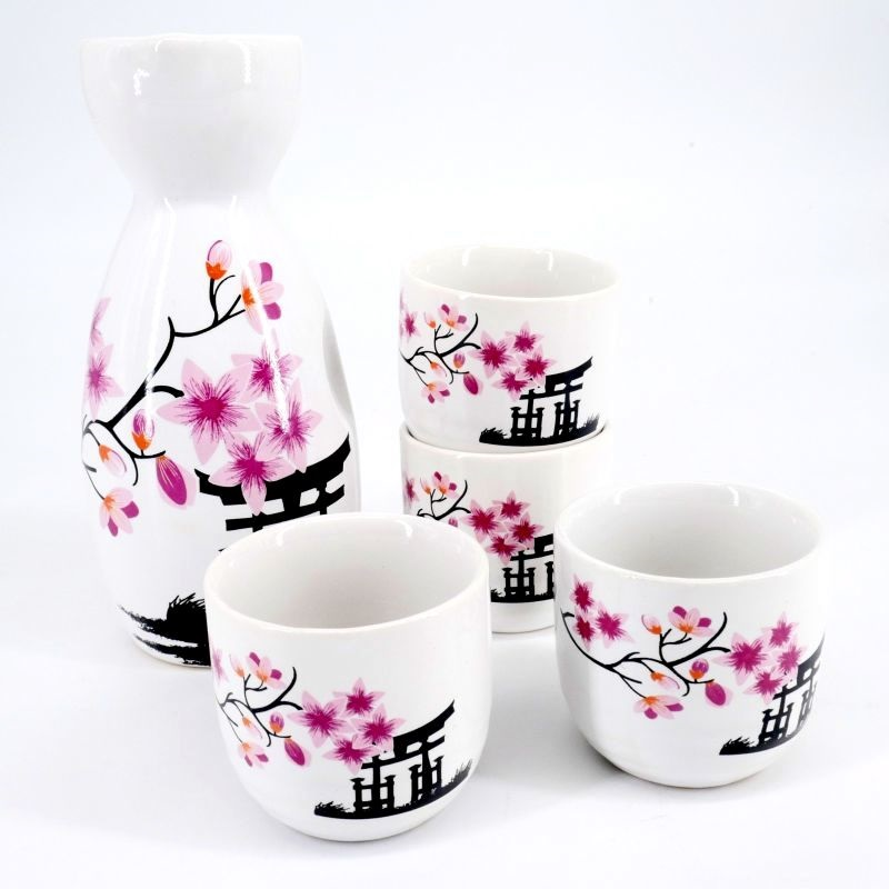 Set da sake in ceramica bianca decorata per 4 persone